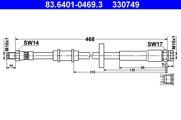 24.5112-0477.3 Bremsschlauch Bremsschläuche Bremsleitung ATE