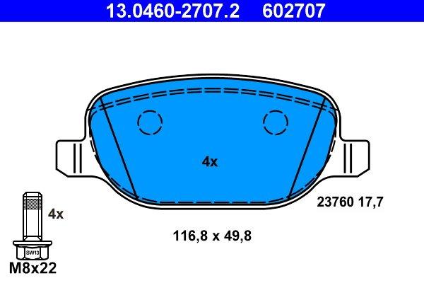 Bremsbelagsatz, Scheibenbremse ATE 13.0460-2707.2