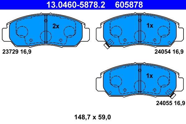 Bremsbelagsatz, Scheibenbremse ATE 13.0460-5878.2