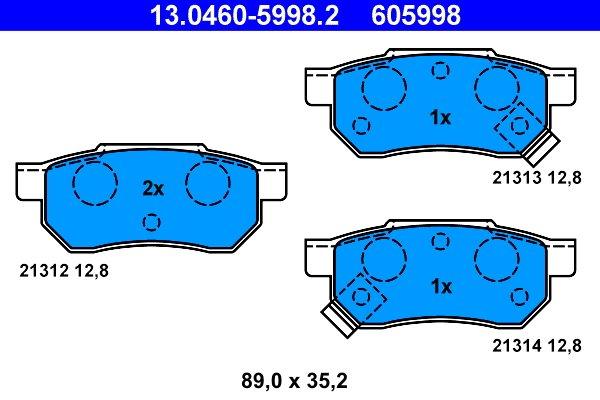 Bremsbelagsatz, Scheibenbremse ATE 13.0460-5998.2
