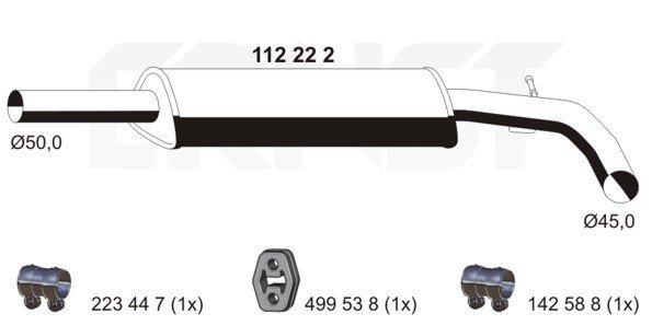 Mittelschalldämpfer ERNST 112222