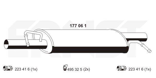 Mittelschalldämpfer ERNST 177061