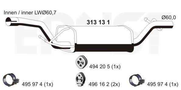 Mittelschalldämpfer ERNST 313131
