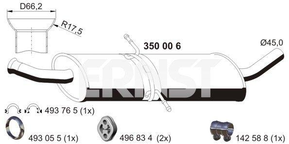 Mittelschalldämpfer ERNST 350006