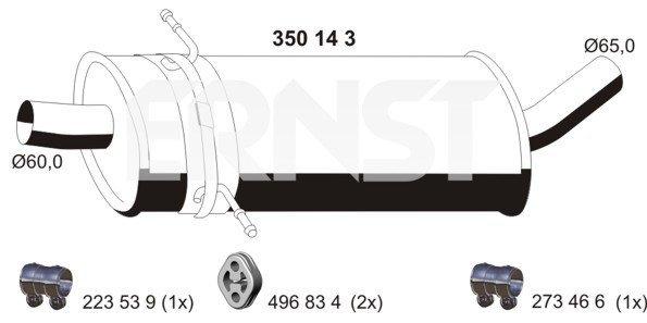 Mittelschalldämpfer ERNST 350143