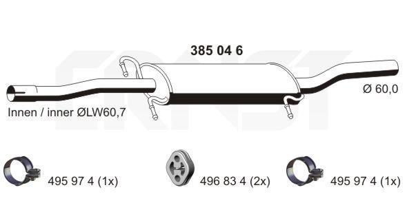 Mittelschalldämpfer ERNST 385046