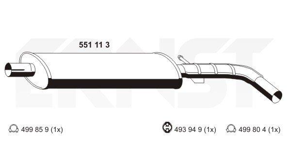 Mittelschalldämpfer ERNST 551113