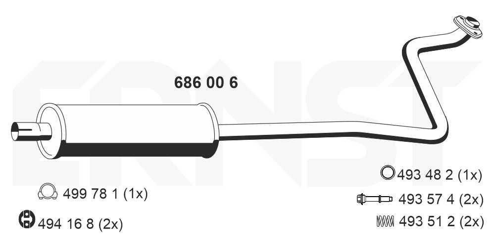 Mittelschalldämpfer ERNST 686006