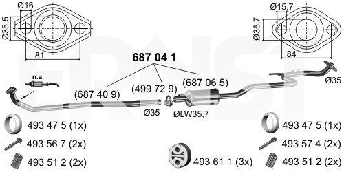 Mittelschalldämpfer ERNST 687041