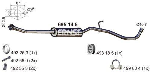 Mittelschalldämpfer ERNST 695145