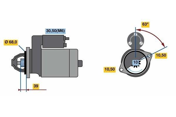 Starter 1,4 kW BOSCH 0 001 108 441 Bild 3