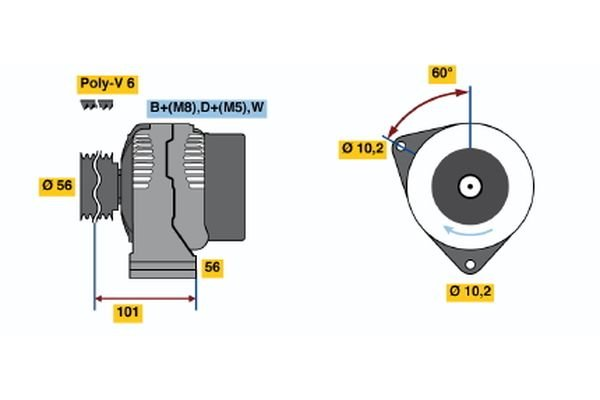 Generator BOSCH 0 986 038 170 Bild 1