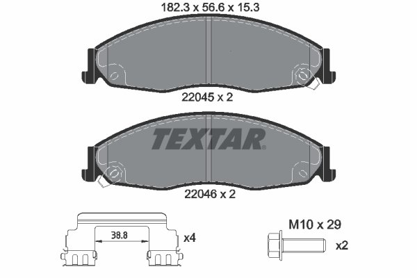 Bremsbelagsatz, Scheibenbremse TEXTAR 2204501