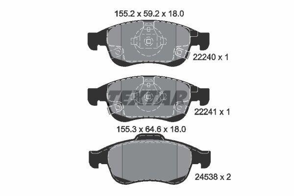 Bremsbelagsatz, Scheibenbremse TEXTAR 2224001