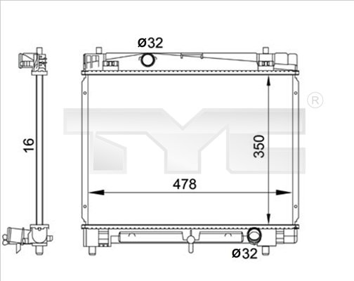 Kühler, Motorkühlung TYC 736-0001