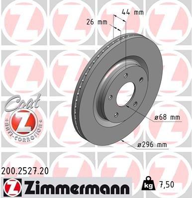 Bremsscheibe ZIMMERMANN 200.2527.20