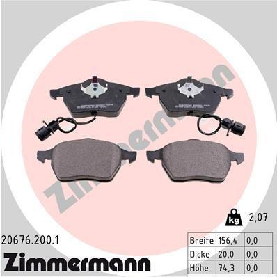 Bremsbelagsatz, Scheibenbremse ZIMMERMANN 20676.200.1