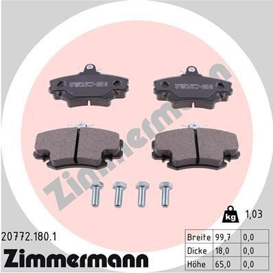 Bremsbelagsatz, Scheibenbremse ZIMMERMANN 20772.180.1