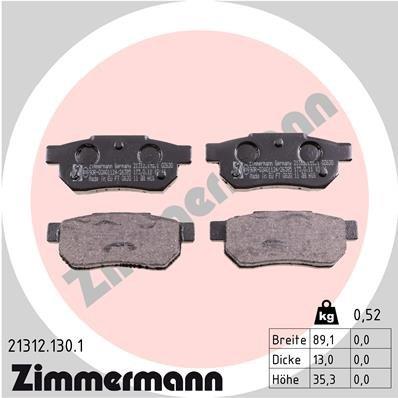 Bremsbelagsatz, Scheibenbremse ZIMMERMANN 21312.130.1