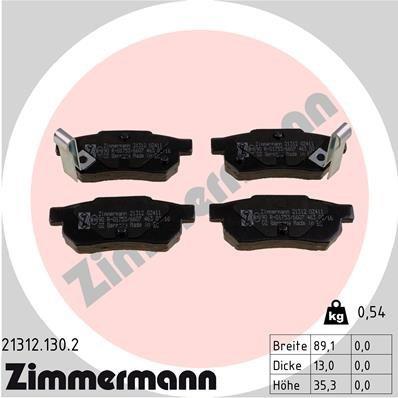 Bremsbelagsatz, Scheibenbremse ZIMMERMANN 21312.130.2