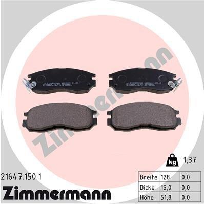 Bremsbelagsatz, Scheibenbremse ZIMMERMANN 21647.150.1