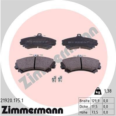Bremsbelagsatz, Scheibenbremse ZIMMERMANN 21920.175.1