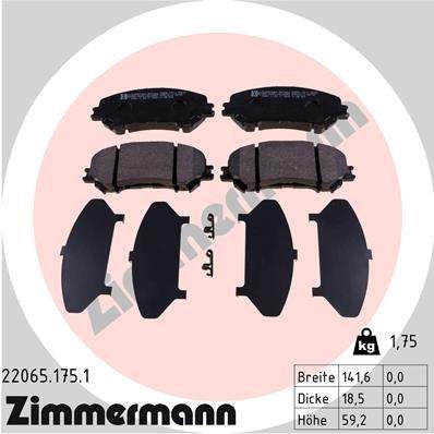 Bremsbelagsatz, Scheibenbremse ZIMMERMANN 22065.175.1