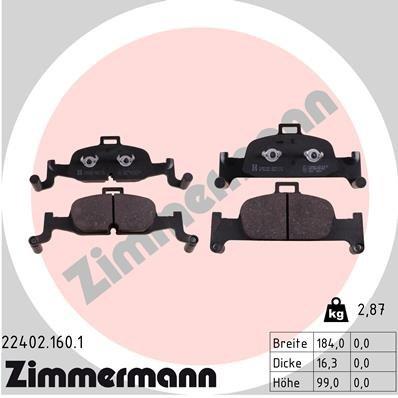 Bremsbelagsatz, Scheibenbremse ZIMMERMANN 22402.160.1
