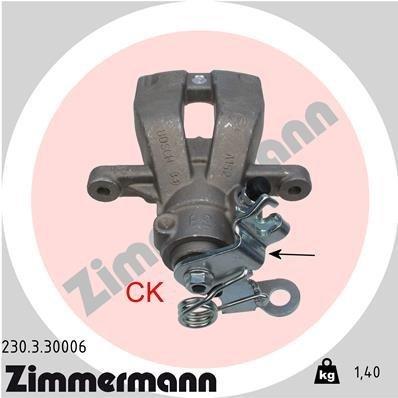 Bremssattel Hinterachse links ZIMMERMANN 230.3.30006