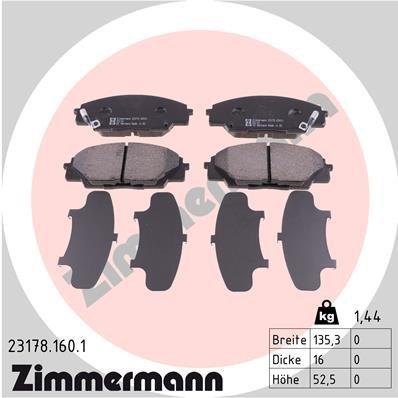 Bremsbelagsatz, Scheibenbremse ZIMMERMANN 23178.160.1