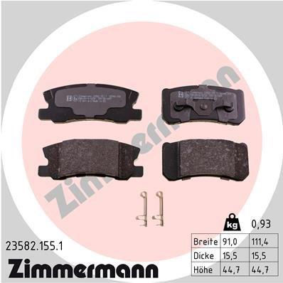 Bremsbelagsatz, Scheibenbremse ZIMMERMANN 23582.155.1