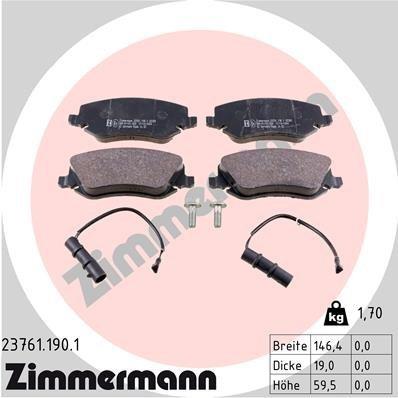 Bremsbelagsatz, Scheibenbremse ZIMMERMANN 23761.190.1