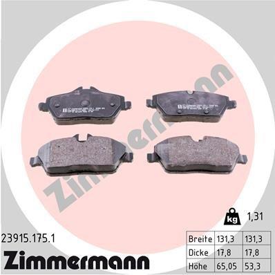 Bremsbelagsatz, Scheibenbremse ZIMMERMANN 23915.175.1