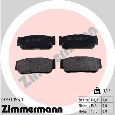 Bremsbelagsatz, Scheibenbremse ZIMMERMANN 23931.155.1