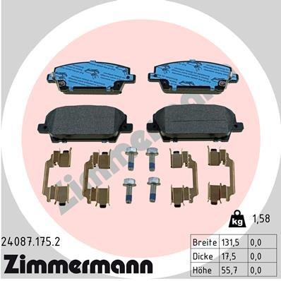 Bremsbelagsatz, Scheibenbremse ZIMMERMANN 24087.175.2