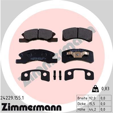 Bremsbelagsatz, Scheibenbremse ZIMMERMANN 24229.155.1