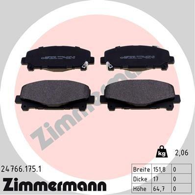 Bremsbelagsatz, Scheibenbremse ZIMMERMANN 24766.175.1