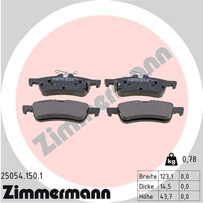 Bremsbelagsatz, Scheibenbremse ZIMMERMANN 25054.150.1