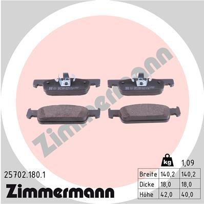 Bremsbelagsatz, Scheibenbremse ZIMMERMANN 25702.180.1