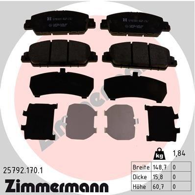 Bremsbelagsatz, Scheibenbremse ZIMMERMANN 25792.170.1