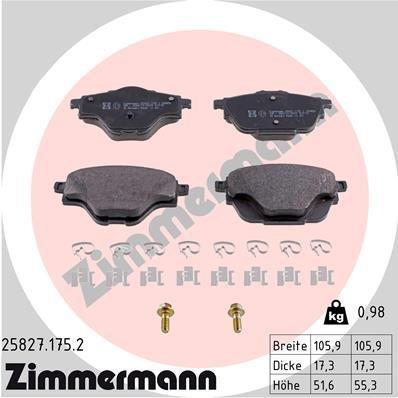 Bremsbelagsatz, Scheibenbremse ZIMMERMANN 25827.175.2