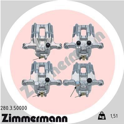 Bremssattel Hinterachse links ZIMMERMANN 280.3.50000