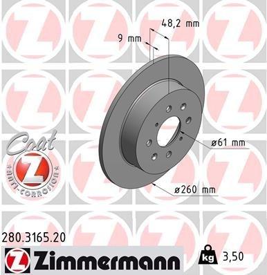 Bremsscheibe ZIMMERMANN 280.3165.20