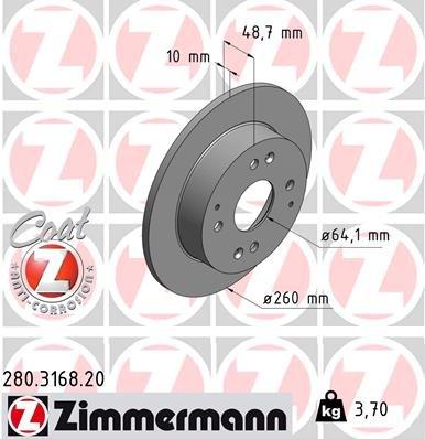 Bremsscheibe ZIMMERMANN 280.3168.20