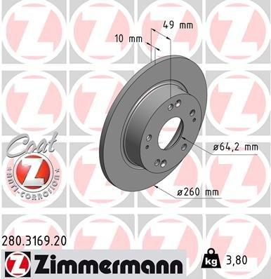 Bremsscheibe ZIMMERMANN 280.3169.20