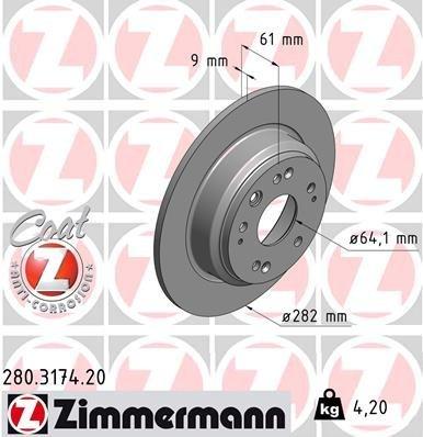 Bremsscheibe ZIMMERMANN 280.3174.20