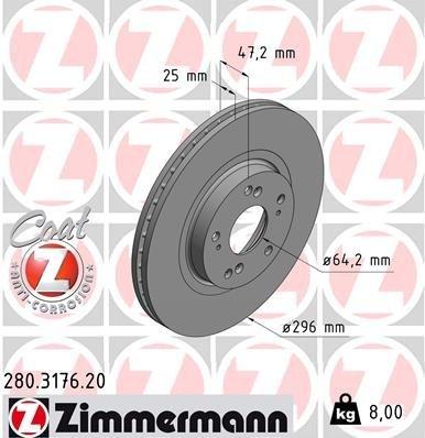 Bremsscheibe ZIMMERMANN 280.3176.20