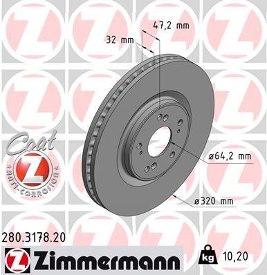 Bremsscheibe ZIMMERMANN 280.3178.20