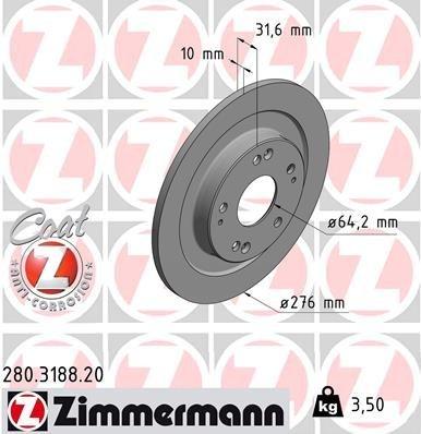 Bremsscheibe ZIMMERMANN 280.3188.20