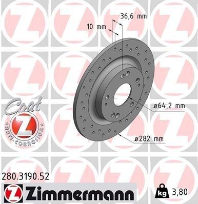 Bremsscheibe ZIMMERMANN 280.3190.52